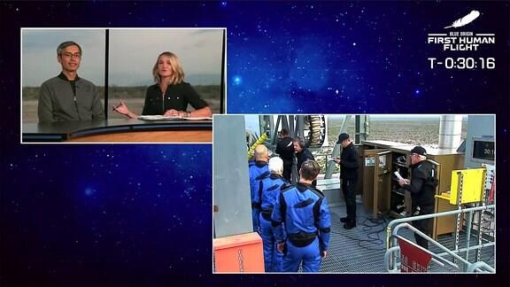 Die vier Astronaut:innen steigen in die Kapsel der New-Shepard-Trägerrakete