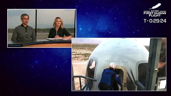 Wally Funk beim einsteigen in die Kabine der Raumkapsel von Blue Origin