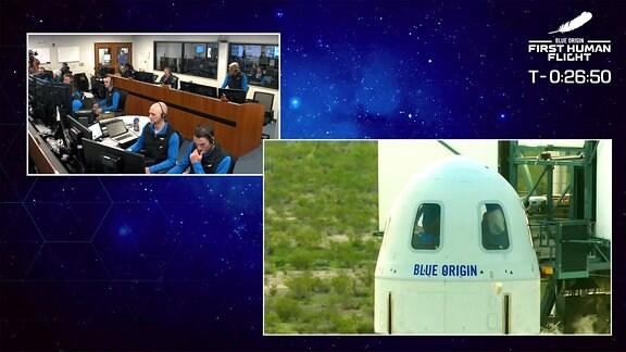 Links oben sieht man das Mission-Control-Center. Im großen Bild rechts erkennt man die Raumkapsel auf der New-Shepard-Trägerrakete.