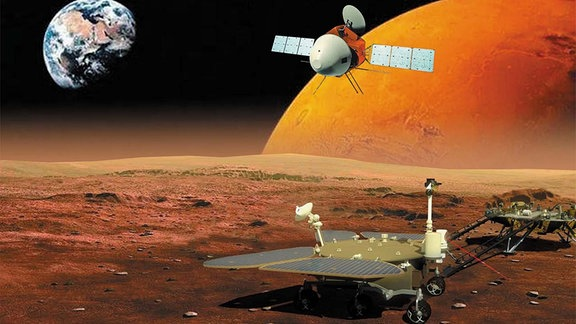 Künstlerische Darstellung zeigt die chinesische Mars-Mission Tianwen-1