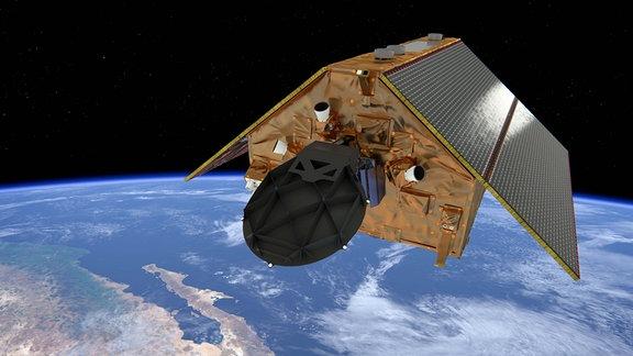 """Künstlerische Darstellung des Satelliten """"Copernicus Sentinel-6 Michael Freilich"""" über der Erde."""