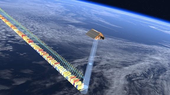 Künstlerische Darstellung des Satelliten Copernicus Sentinel-6 Michael Freilich, wie er die Meeresoberfläche vermisst