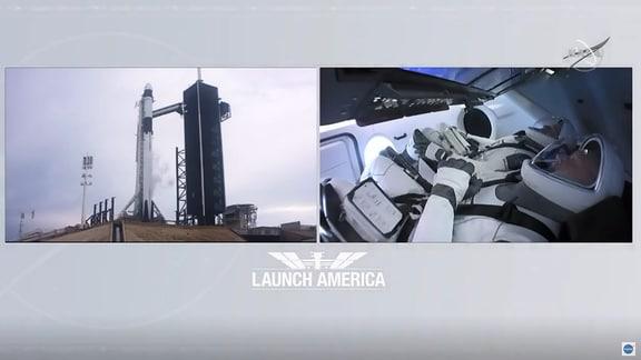 Zwei Astronauten in einer Raumkapsel - links daneben ein Blick auf die Rakete