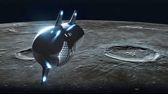 Illustration: Dear Moon (SpaceX) - Raumschiff nahe der Mondoberfläche