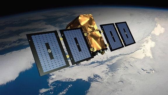 Künstlerische Darstellung des Quantum-Satelliten von Eutelsat, Airbus und Surrey Satellite Technology. Im Hintergrund befindet sich die Erde und der Weltraum.