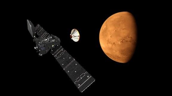 Exomars Trace Gas Orbiter Orbiter über dem Mars