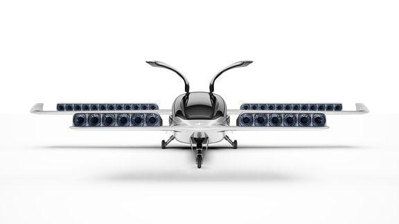 Animation eines futuristischen Fluggeräts mit vier Tragflächen von vorn.