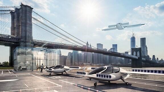 Visualisierung eines Flugtaxi-Landeplatzes am Fuße der Brooklyn Bridge in New York City.