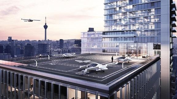Visualisierung eines Flugtaxi-Landeplatzes auf dem Dach eines Hochhauses.