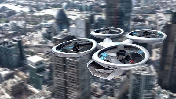 Animation einer überdimensionalen Drohne mit vier Propellern, an der eine Art Autorumpf hängt.