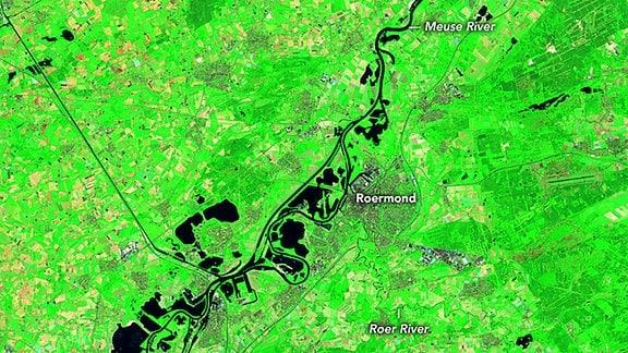 Satellitenaufnahme von Landsat 8 über Roermond (Niederlande) am 16. Juli 2021.