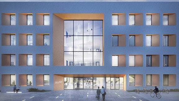 Entwurf eines Neubaus an der Uni Jena.