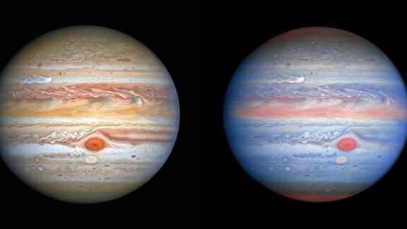 [Links] Dieses neueste Bild von Jupiter mit sichtbarem Licht wurde am 25. August 2020 vom Hubble-Weltraumteleskop aufgenommen und aufgenommen, als sich der Planet 653 Millionen Kilometer von der Erde entfernt befand. Hubbles scharfe Sicht gibt Forschern einen aktualisierten Wetterbericht über die turbulente Atmosphäre des Monsterplaneten, einschließlich eines bemerkenswerten neuen Sturms und eines Cousins des Großen Roten Flecks, der erneut die Farbe wechselt. Das neue Bild zeigt auch Jupiters eisigen Mond Europa.  [Rechts] Diese Multiwellenlängenbeobachtung von Jupiter im ultravioletten / sichtbaren / nahen Infrarotlicht wurde am 25. August 2020 vom Hubble-Weltraumteleskop aufgenommen und bietet Forschern eine völlig neue Sicht auf den Riesenplaneten. Die Nahinfrarot-Bildgebung von Hubble in Kombination mit ultravioletten Ansichten bietet einen einzigartigen panchromatischen Look, der Einblicke in die Höhe und Verteilung des Dunstes und der Partikel des Planeten bietet. Dies ergänzt Hubbles Bilder mit sichtbarem Licht, die die sich ständig ändernden Wolkenmuster zeigen.