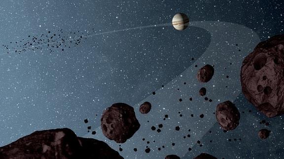 Eine Infografik der amerikanischen Raumfahrtbehörde NASA zu den Jupiter-Trojanern. Das sind Asteroiden auf der Jupiter-Umlaufbahn. Die Raumsonde Lucy soll mehrere dieser Trojaner anfliegen.