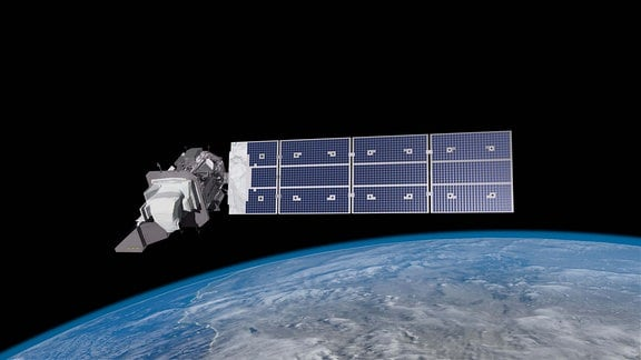 Beschreibung Eine künstlerische Darstellung des Landsat-9 Satelliten in der Umlaufbahn der Erde.