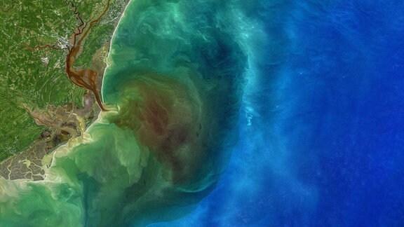 Das Bild entstand am 1. Oktober 2020 und wurde von Landsat-8 aufgenommen. Es zeigt, wie die abgestorbenen Blätter und Pflanzenabfälle aus den Flüssen Waccamaw, Pee Dee, Black und Sampit ins Müdnungsgebiet im Osten von South Carolinas (USA) spült.