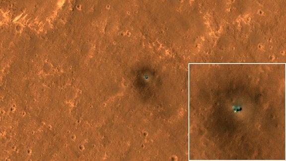Ein Satellitenbild von der Marsoberfläche zeigt den Lander InSight