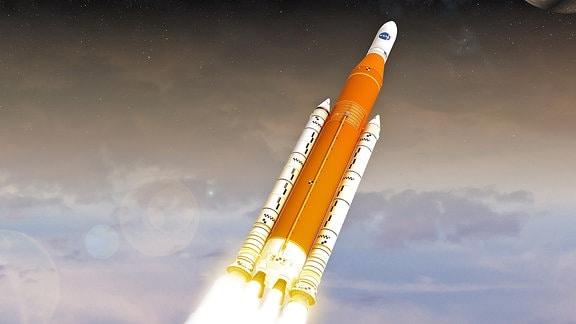 Eine Rakete im All