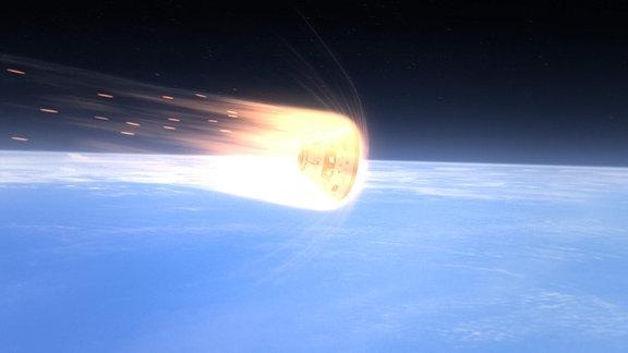 Raumschiff tritt in die Erdatmosphäre ein