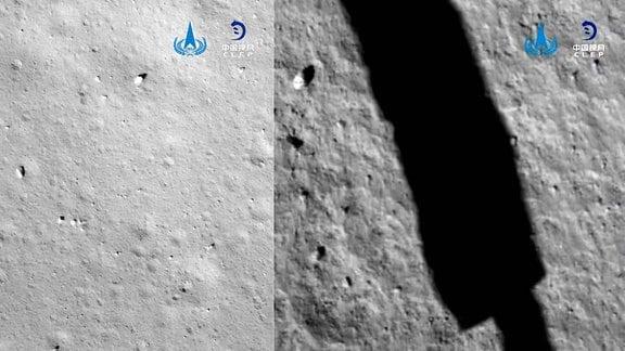 Mondoberfläche kurz vor der Landung des chinesischen Mondlanders