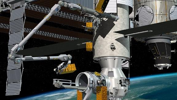 Künstlerische darstellung des neuen ISS-Moduls Nauka mit dem neuen Roboterarm