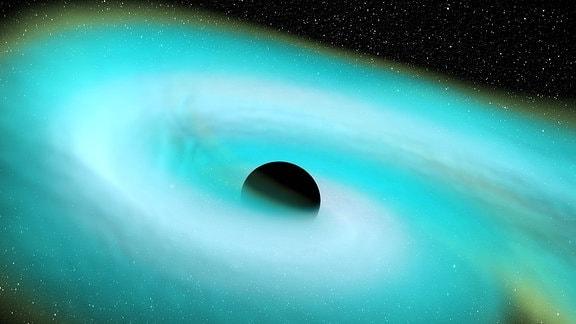 Simuliertes Standbild, das die Gezeitenzerstörung eines Neutronensterns durch ein Schwarzes Loch zeigt. Bei der Annäherung des Neutronensterns an das Schwarze Loch überwältigen die Gezeitenkräfte die Eigengravitation des Neutronensterns, was zu seiner Zerstörung führt. In dieser Simulation ist das Schwarze Loch doppelt so massereich wie der Neutronenstern und beide drehen sich nicht. (Während die beiden entdeckten NSBH-Systeme, über die hier berichtet wird, keine Anzeichen für eine Gezeitenspaltung zeigen, illustriert diese Simulation den Prozess der Gezeitenspaltung in einem NSBH-Doppelsternsystem mit unterschiedlichen Massen).
