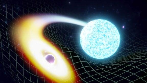 Künstlerische Darstellung eines Neutronensterns, der mit einem Schwarzen Loch verschmilzt.