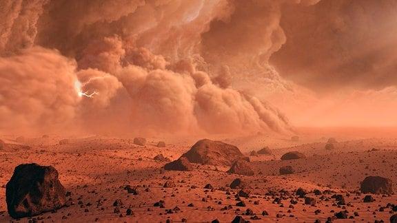 Ein gewaltiger Staubsturm erscheint über dem Rand eines Kraters auf dem Mars.