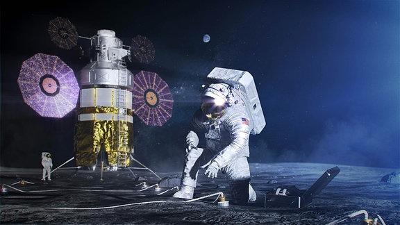 2 Raumfahrer auf dem Mond