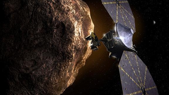 Eine künstlerische Darstellung der Raumsonde Lucy in der Nähe eines Asteroiden