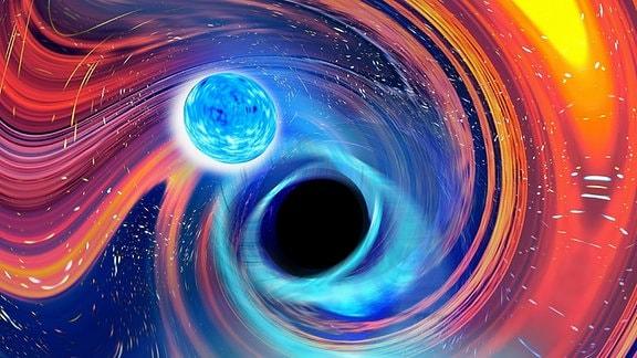 Illustration eines Schwarzes Loches, welches einen Neutronenstern schluckt