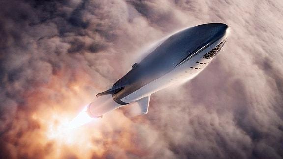 Künstlerische Darstellung der geplanten SpaceX-Rakete Big Falcon Rocket beim Start.