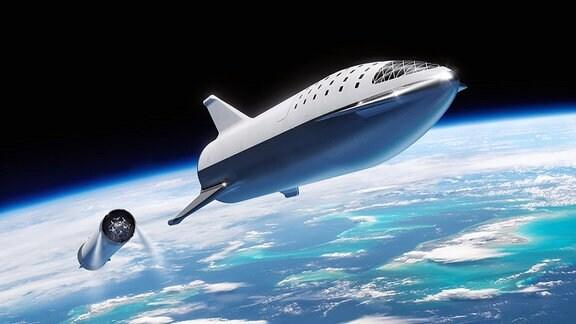 Künstlerische Darstellung der geplanten SpaceX-Rakete Big Falcon Rocket über der Erde.
