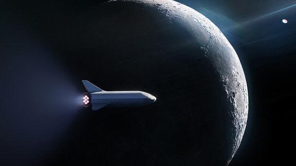 Künstlerische Darstellung der geplanten SpaceX-Rakete Big Falcon Rocket vor dem Mond.