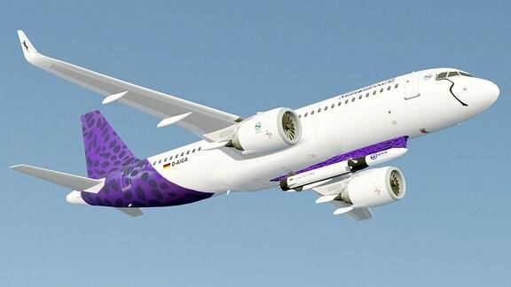 Airbus A320 mit dem Trägerraketensystem Valkyrie am Rumpf des Flugzeugs