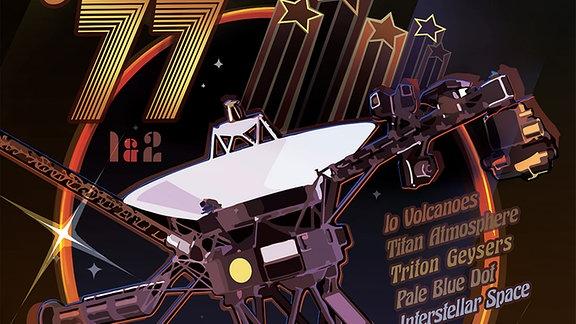 Die Voyager2-Sonde auf einem Poster im knallbunten Disco-Look