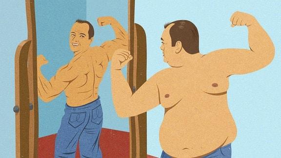 Illustration - Übergewichtiger Mann schaut in den Spiegel und stellt sich als muskulösen Mann