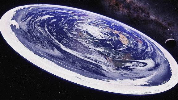Ansicht der flachen Erde aus dem Weltraum.