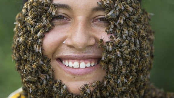 Viele Bienen sitzen auf dem Gesicht einer Frau und formen einen Bart.