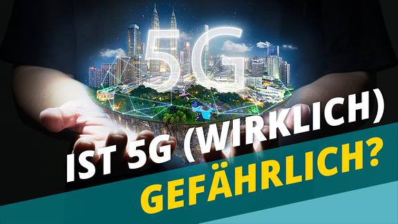 """Frage der Woche: """"Ist 5G (wirklich) gefährlich?"""" -- Zwei Hände, über denen eine vernetzte Stadt schwebt und leuchtend """"5G"""""""