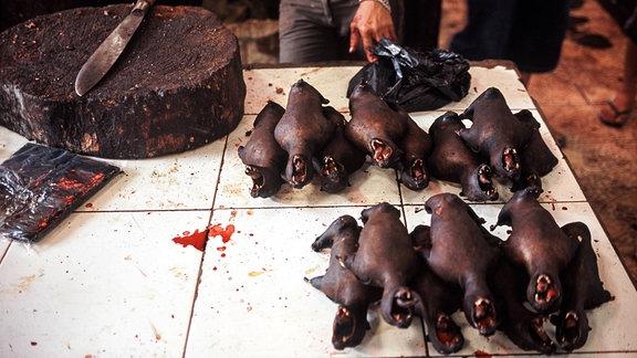 Auf dem traditionellen Fleischmarkt in Tomohon werden geröstete Flughunde bzw. Riesen-Fledermäuse zum Verzehr angeboten