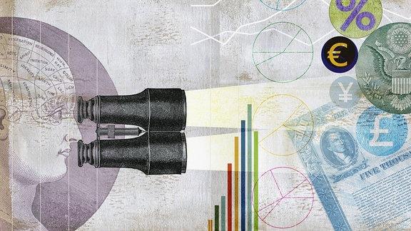 Phrenologie-Kopf schaut durch Ferngläser und analysiert Finanzdaten