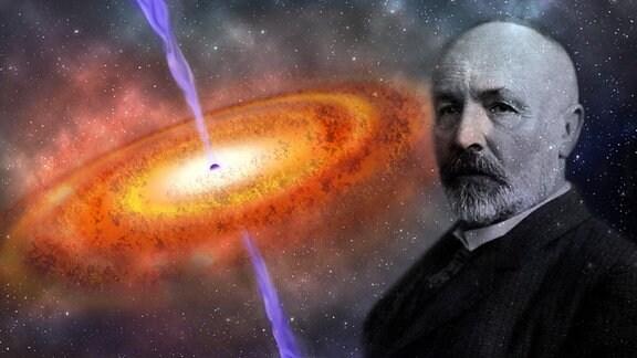 Portrait Georg Cantor vor Künstlerischer Darstellung eines Quasars - eine orange-rot glühende Scheibe dreht sich um ein schwarzes Loch im Zentrum, das einen senkrecht zu Scheibe stehenden lilafarbenen Strahl aussendet.