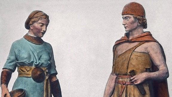 Modelle eines Germanenpaares aus der Bronzezeit