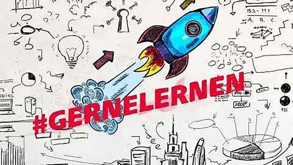 Zeichnung einer comicartigen Raket. Darubter der Hashtag #GERNELERNEN