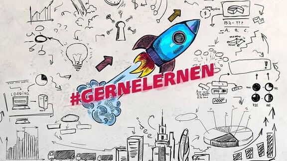 Grafik #GERNELERNEN - Rakete vor dem Hintergrund einer Stadt.