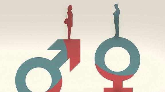 Frau auf Männersymbol gegenüber einem Mann auf Frauensymbol
