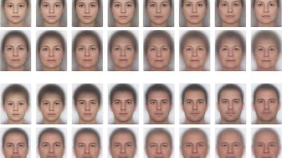 124 biometrische Passbilder von Menschen unterschiedlichen Alters.