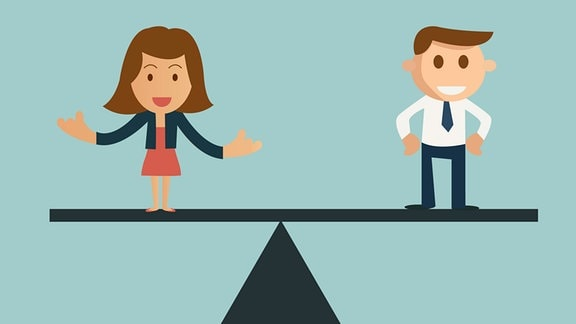 Grafik: Mann und Frau, ausgeglichen auf einer Waage