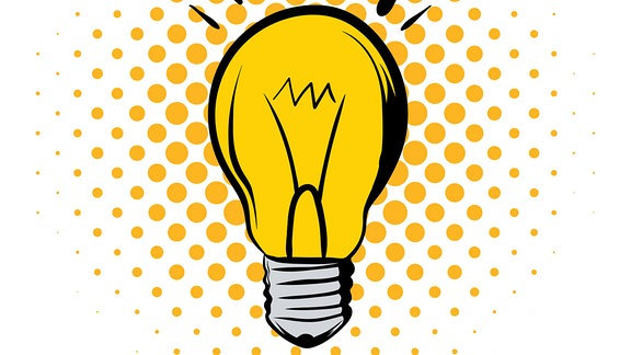 Leuchtende Glühbirne im Comicstil auf einem weißen Hintergrund.